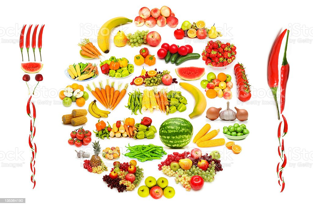 Set of various fruit and vegetables royalty-free stock photo