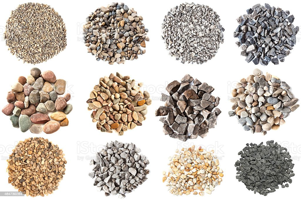 Set of various gravels and pebbles textures stock photo