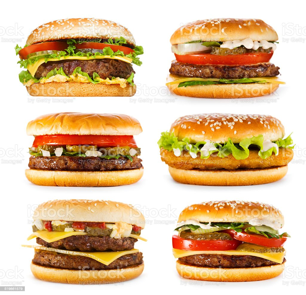 set of various hamburgers stock photo