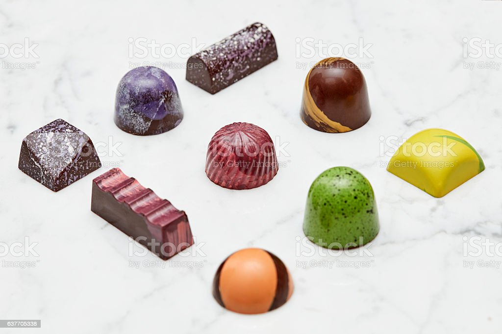 Set of various hand-made candies stock photo