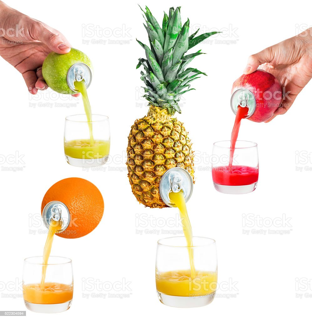 Set of various juices stock photo