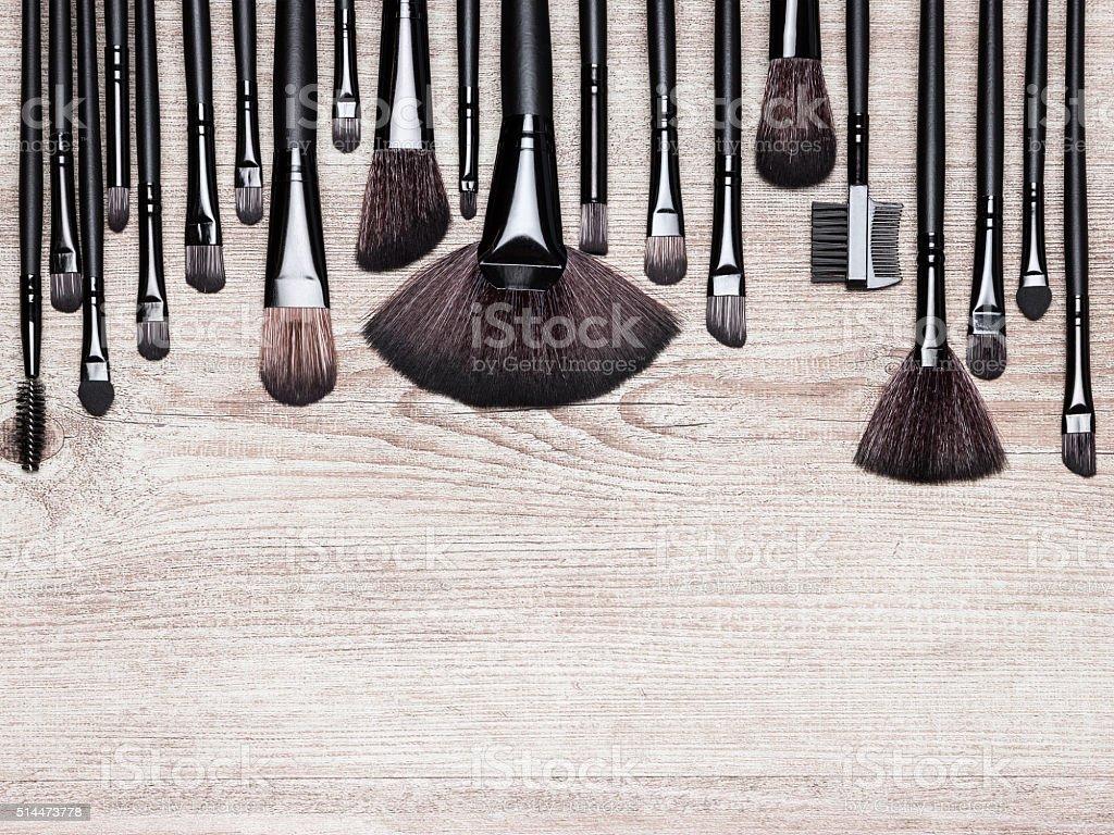Set of various natural bristle makeup brushes stock photo
