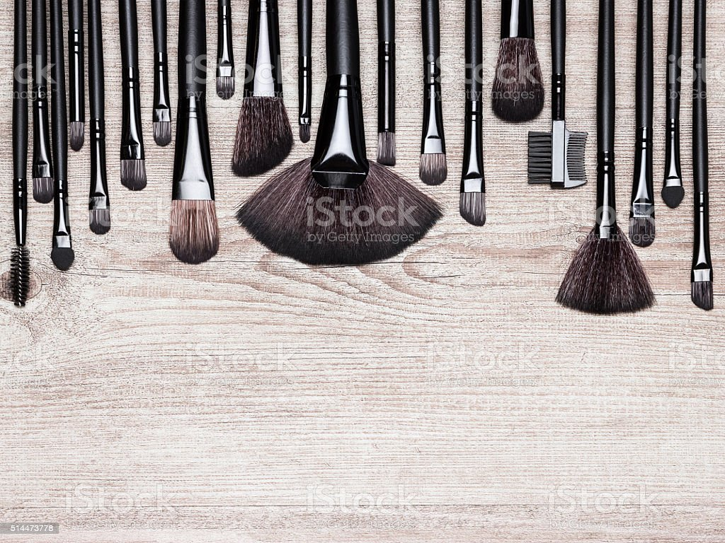 Set of various natural bristle makeup brushes stock photo