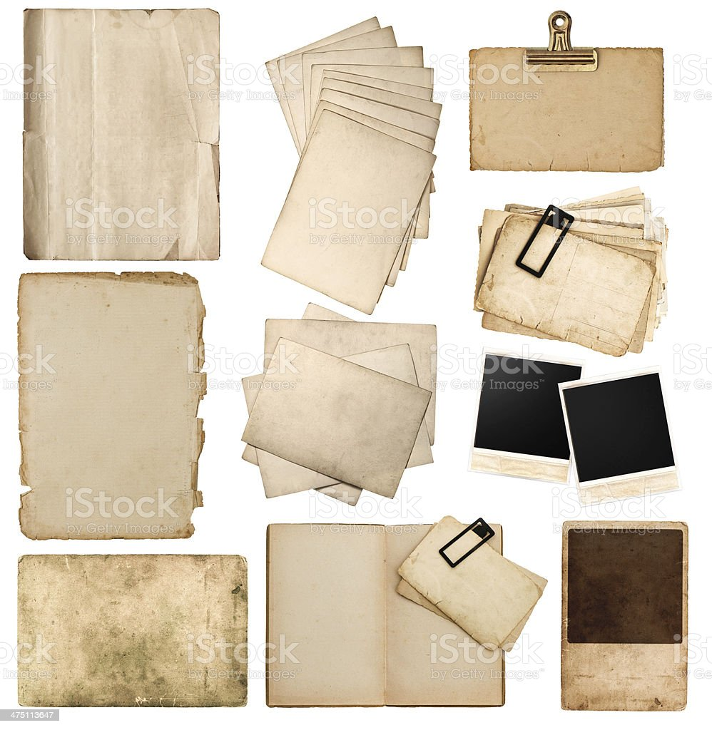 set of various old paper sheets and photo frames stock photo