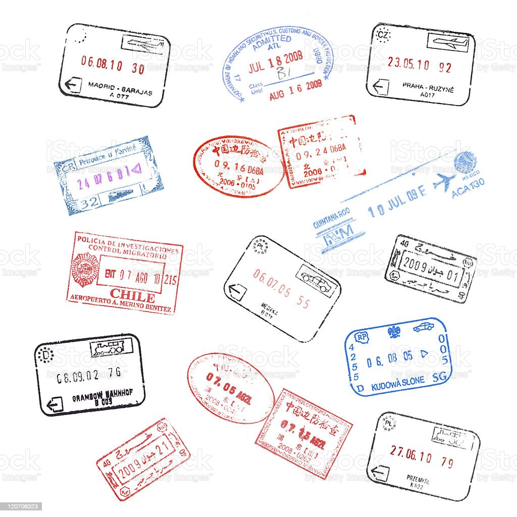 set of various passport visa stamps stock photo