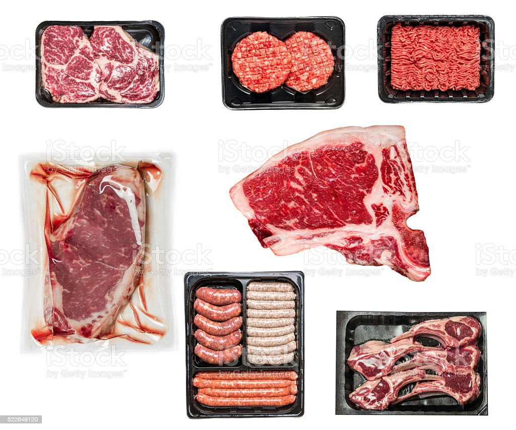 set of various raw meat stock photo