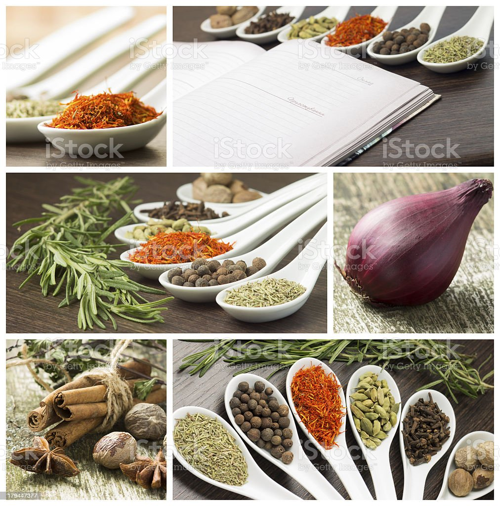 Set of various spices and food ingredients royalty-free stock photo