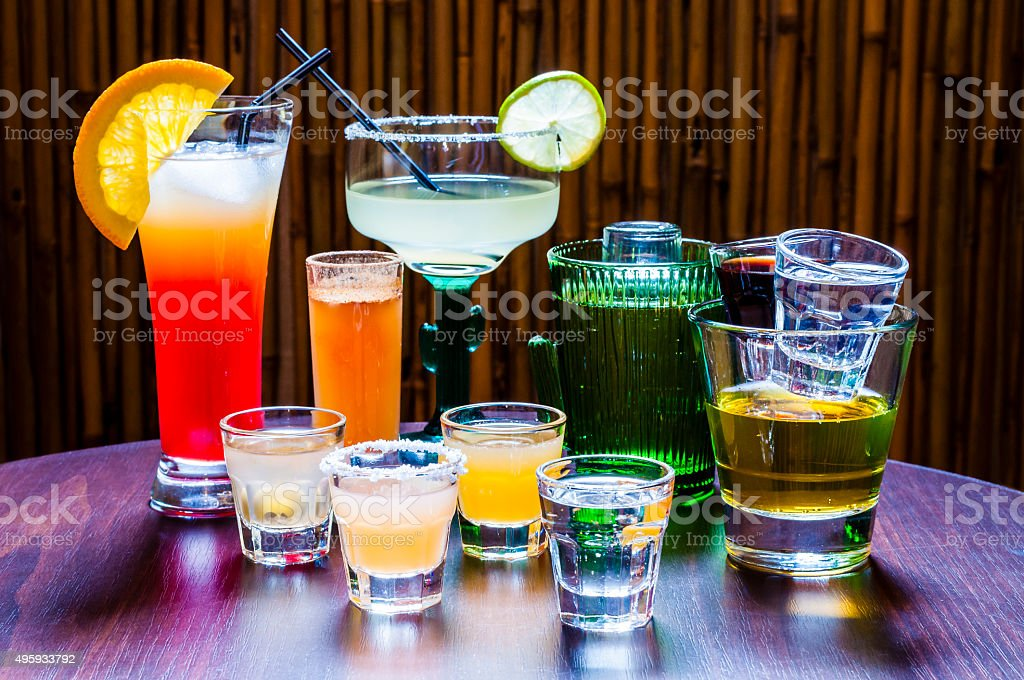 Set of various Tequila Cocktails stock photo