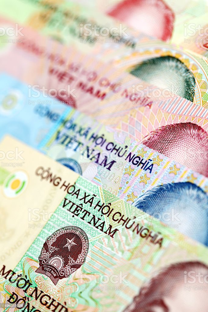 Set of various Vietnamese currency stock photo