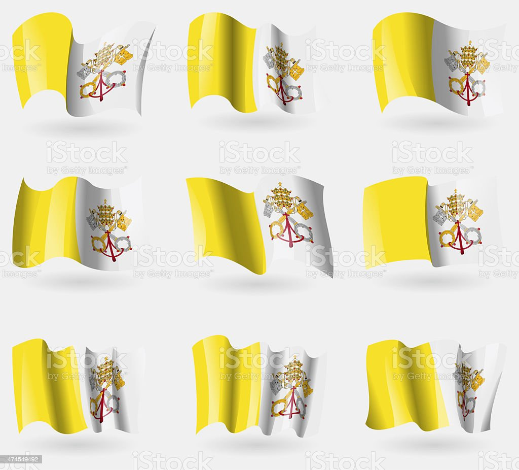 Set of Vatican CityHoly See flags in the air. stock photo