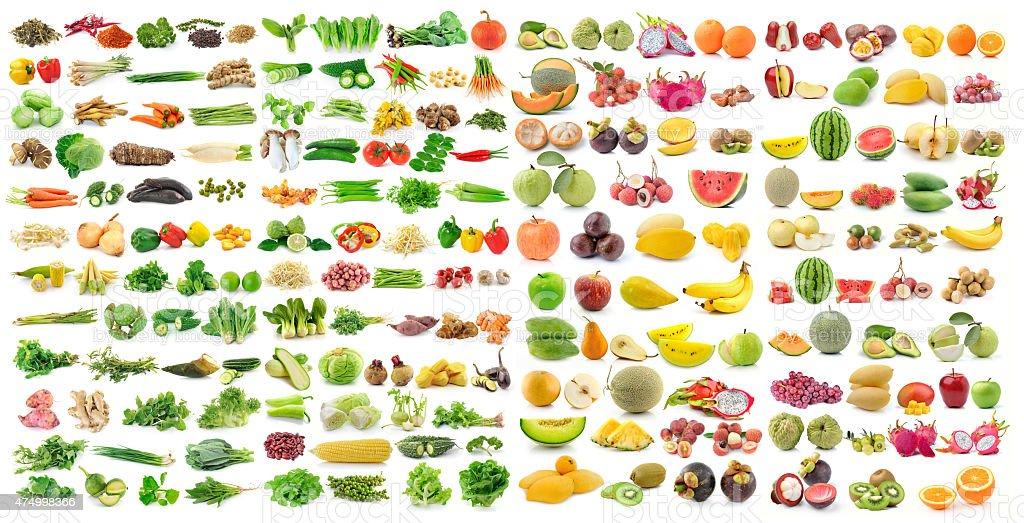 set of vegetable and fruit on white background stock photo