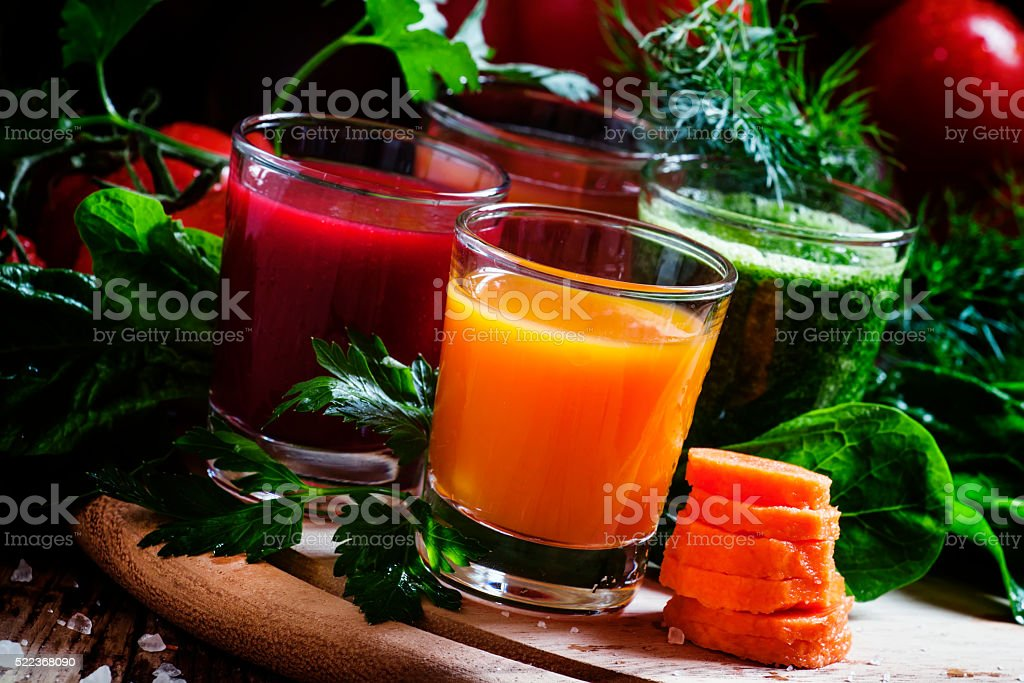 Set of vegetable juice in glasses: beetroot, tomato, spinach stock photo