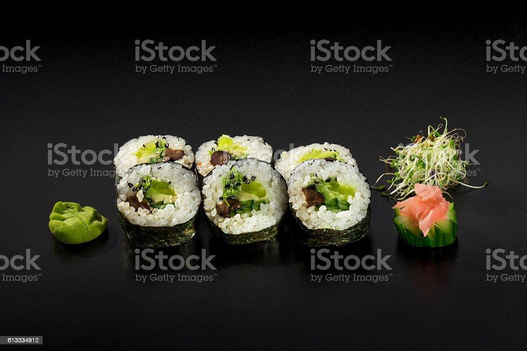 Set of Vegetarian Hosomaki Sushi stock photo