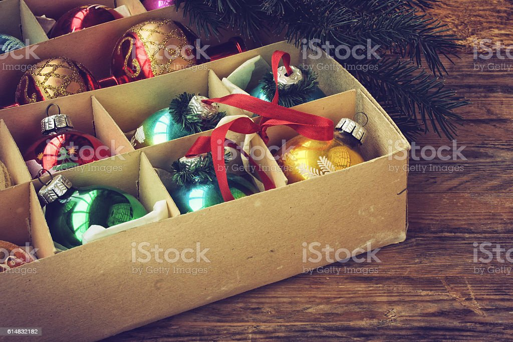 set of vintage Christmas decoration in box stock photo