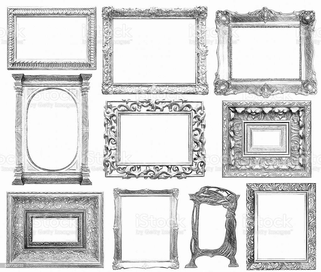 Set of vintage frame in draw, sketch style. stock photo