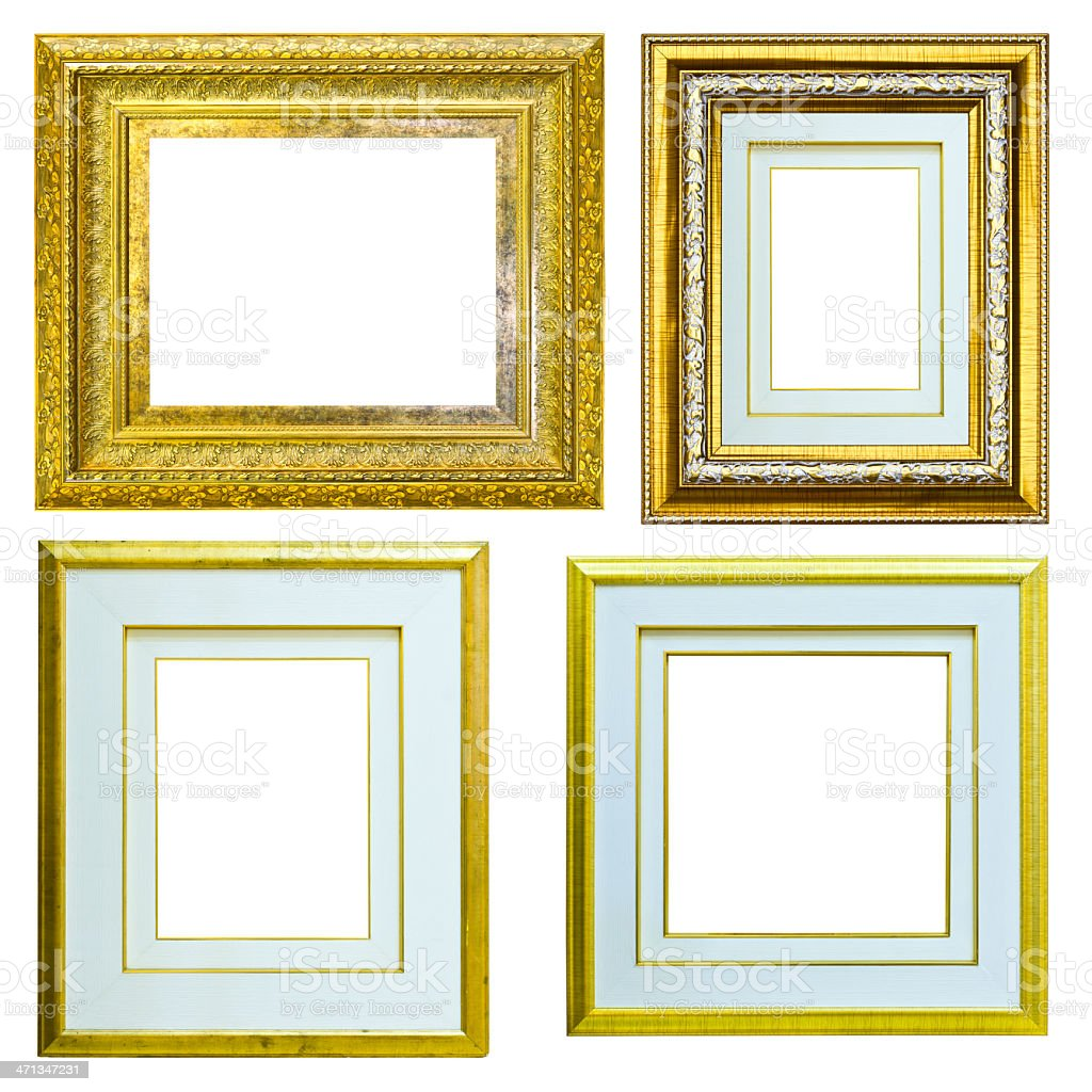 set di Vintage cornice oro isolato foto stock royalty-free