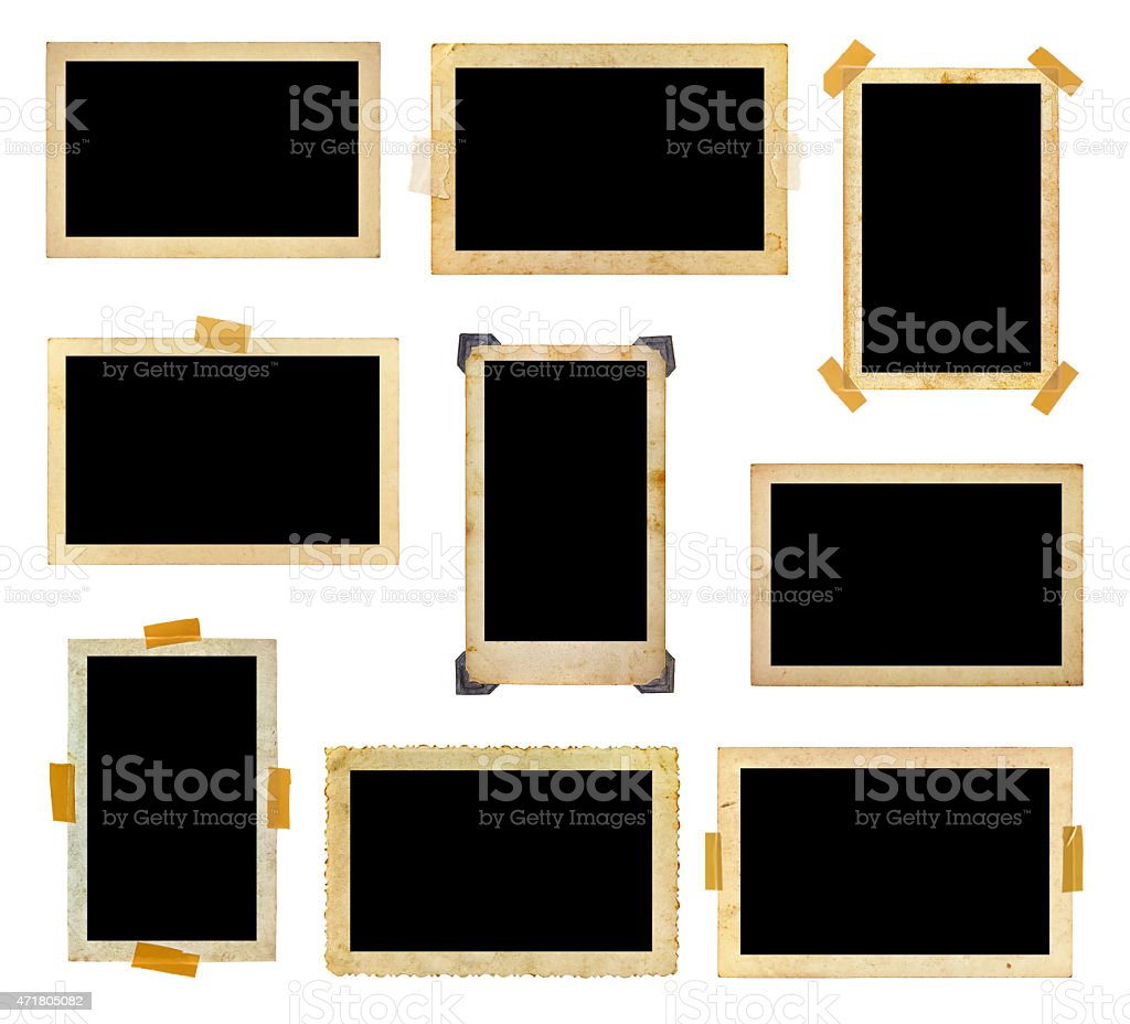 A set of vintage photo frames with the photo space blank stock photo