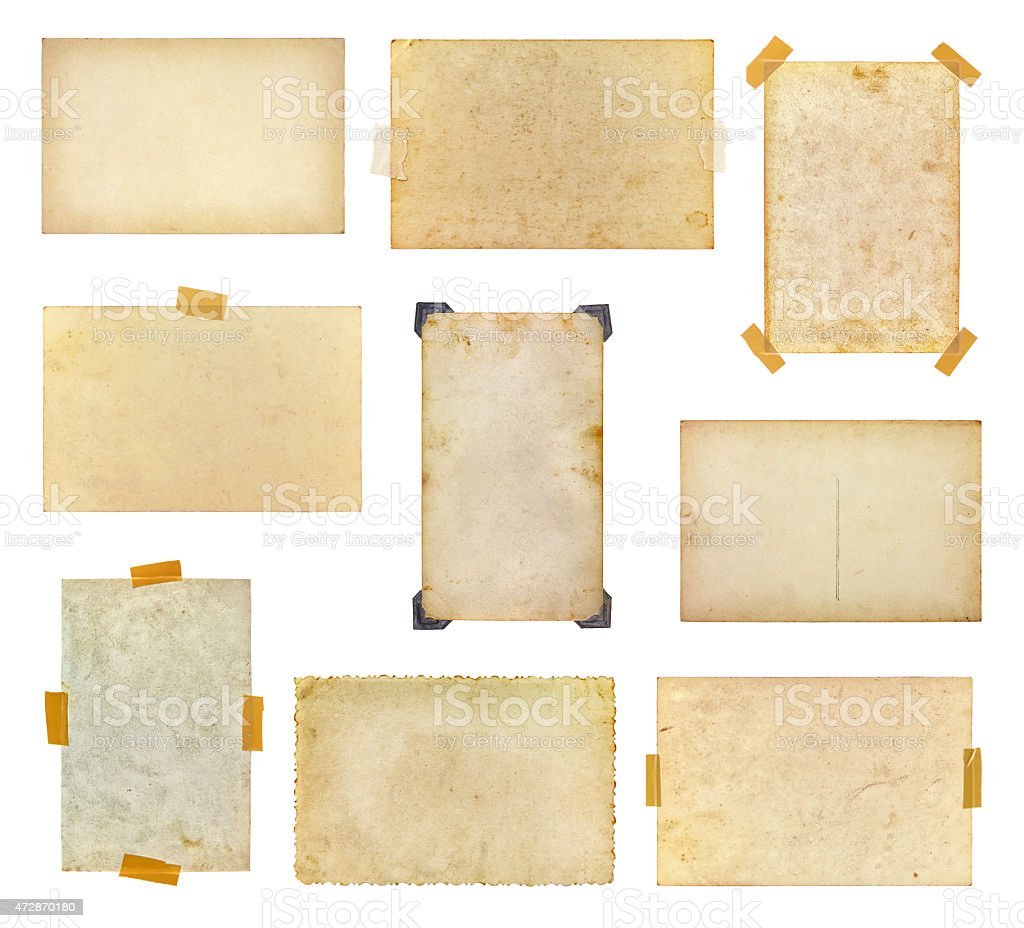 Set of vintage photos taped to a white background stock photo
