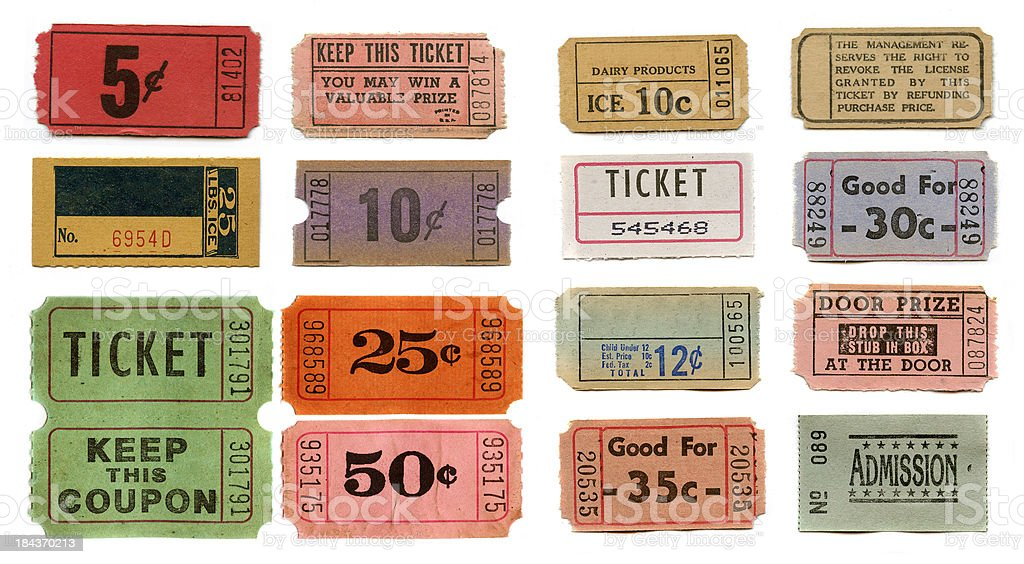 set of vintage tickets stock photo