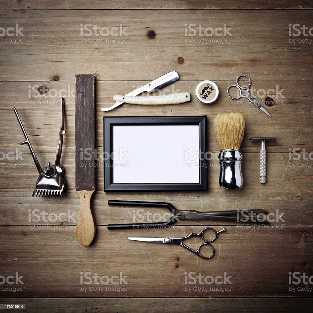 Set of vintage tools of barber shop with picture frame stock photo