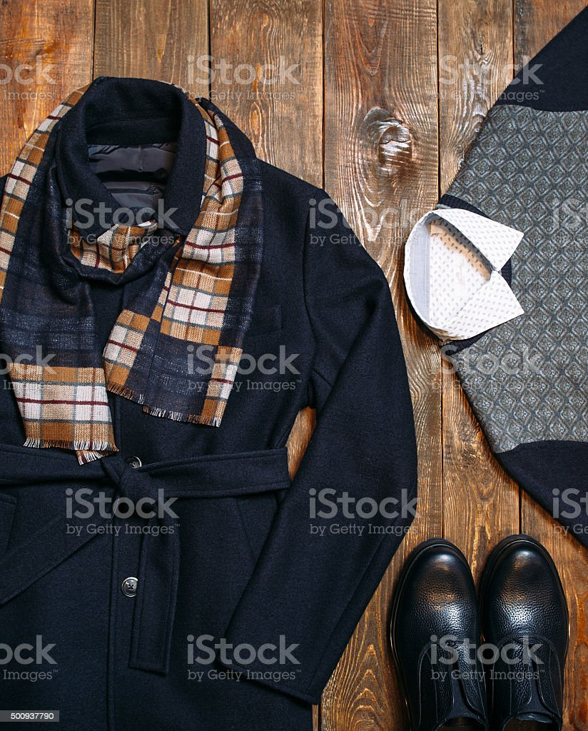 Set of warm winter classic men's clothing stock photo