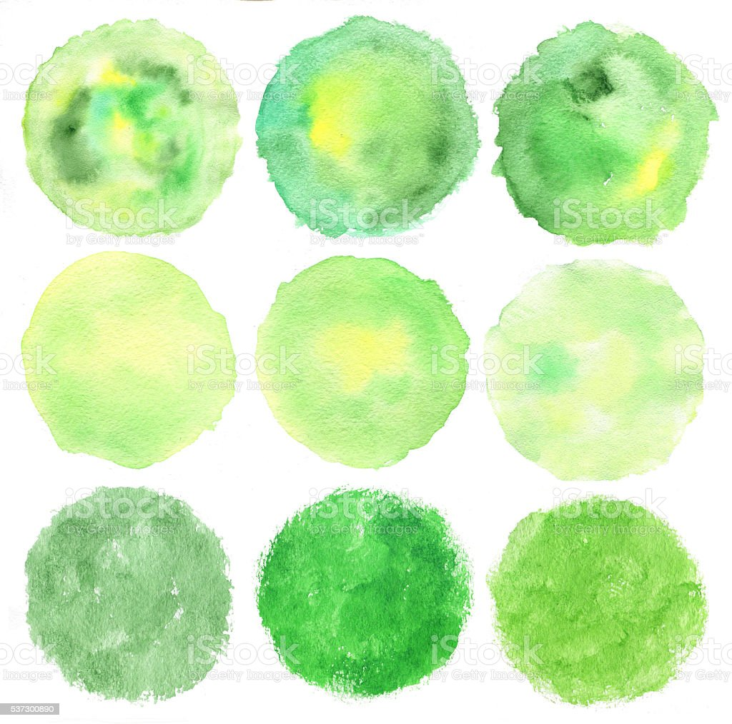 Set of watercolor green logo. stock photo