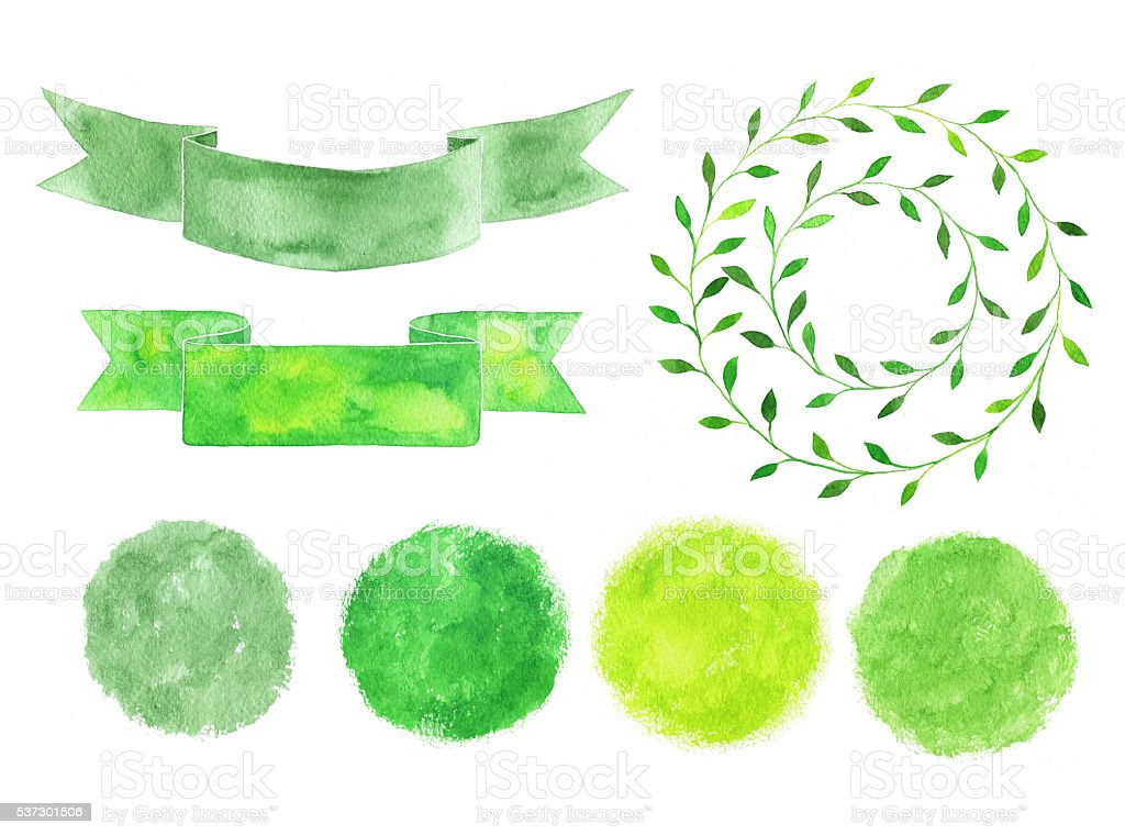 Set of watercolor logotypes. Green spots, labels, badges, leaves stock photo