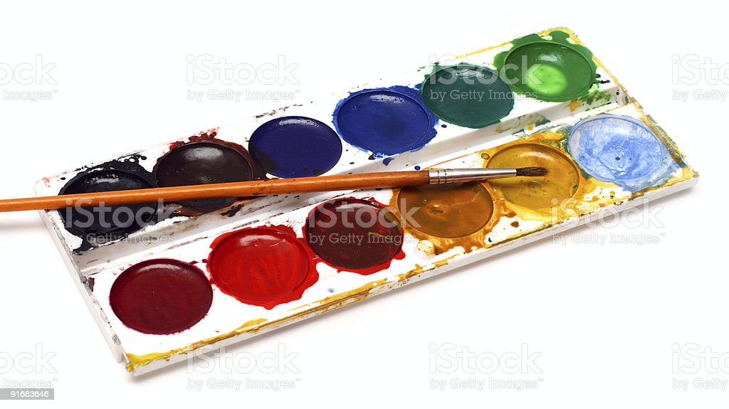 set of water-colour paints and brush royalty-free stock photo
