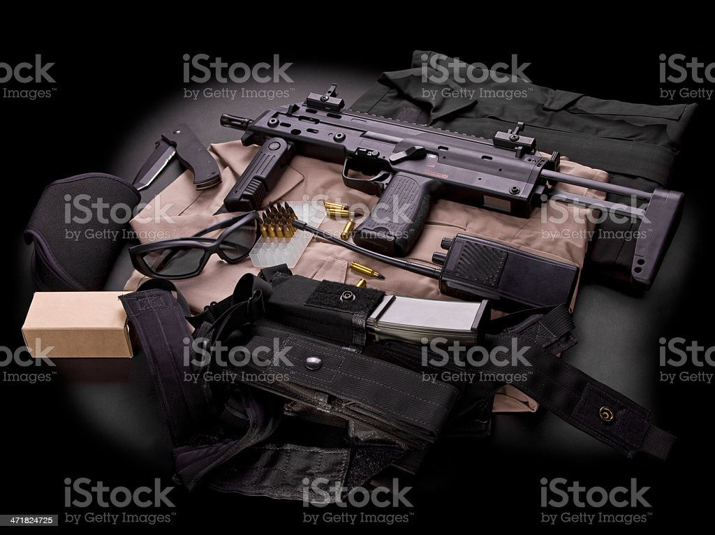 Set of weapons and uniform for guards royalty-free stock photo