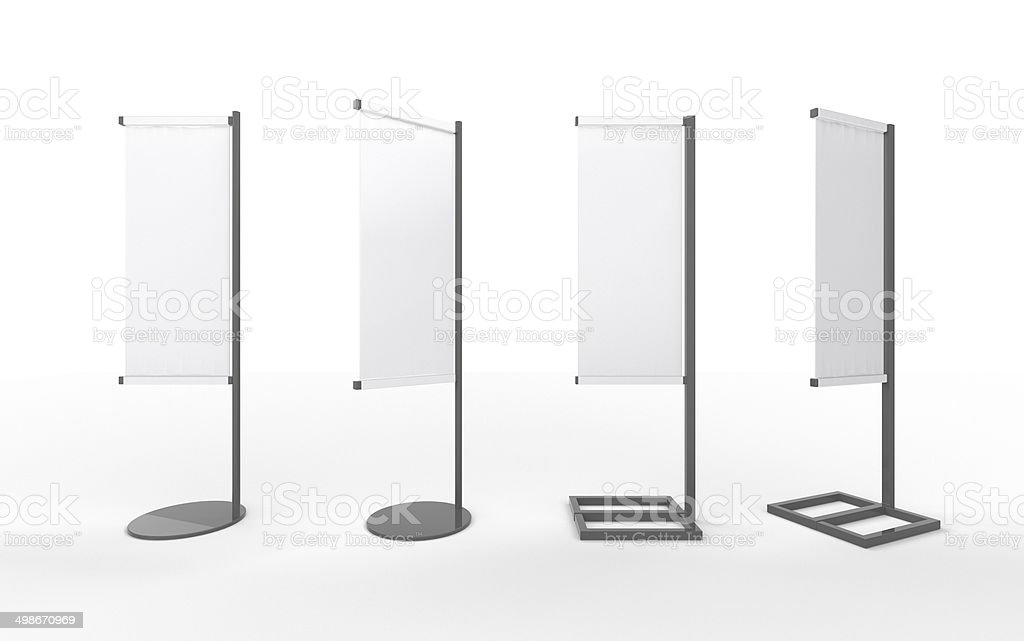 Set of white  banner japanese flag display with  aluminum frame stock photo