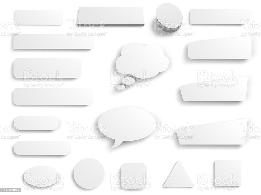 set of white butons stock photo