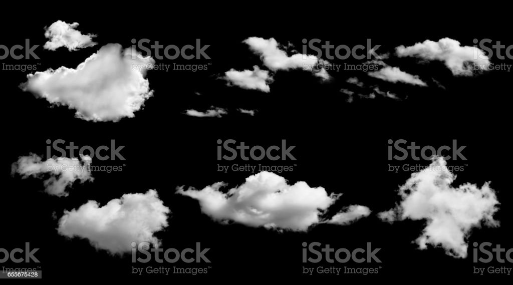 set of white clouds isolated on black background stock photo