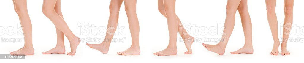 Set of white legs thigh down in various states of walking stock photo
