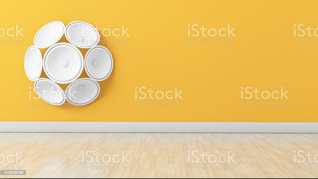 Set of white speakers on the wall stock photo