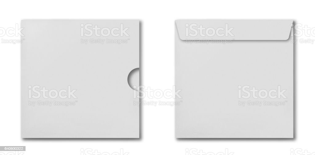 Set of white square envelopes for cd disk stock photo