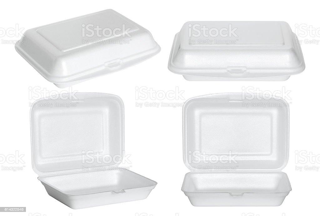 set of white styrofoam box isolated on white stock photo