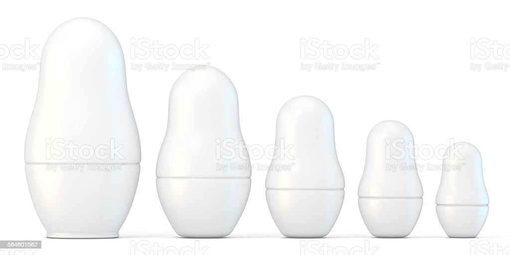 Set of white unpainted matryoshka dolls. 3D stock photo