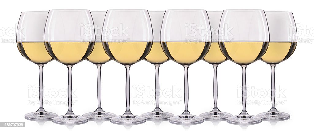 Set of white wine in a glass isolated stock photo