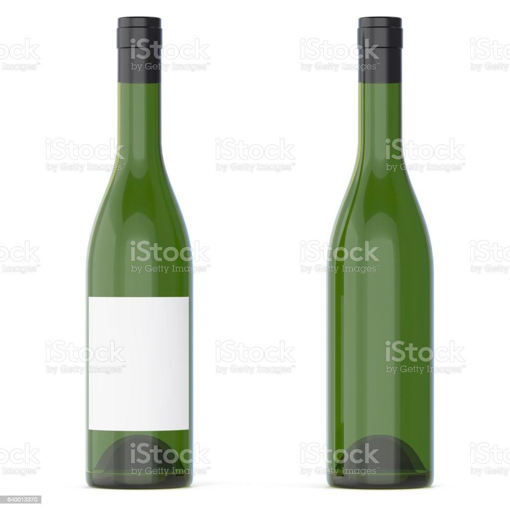 Set of wine bottles with empty blank isolated on white stock photo