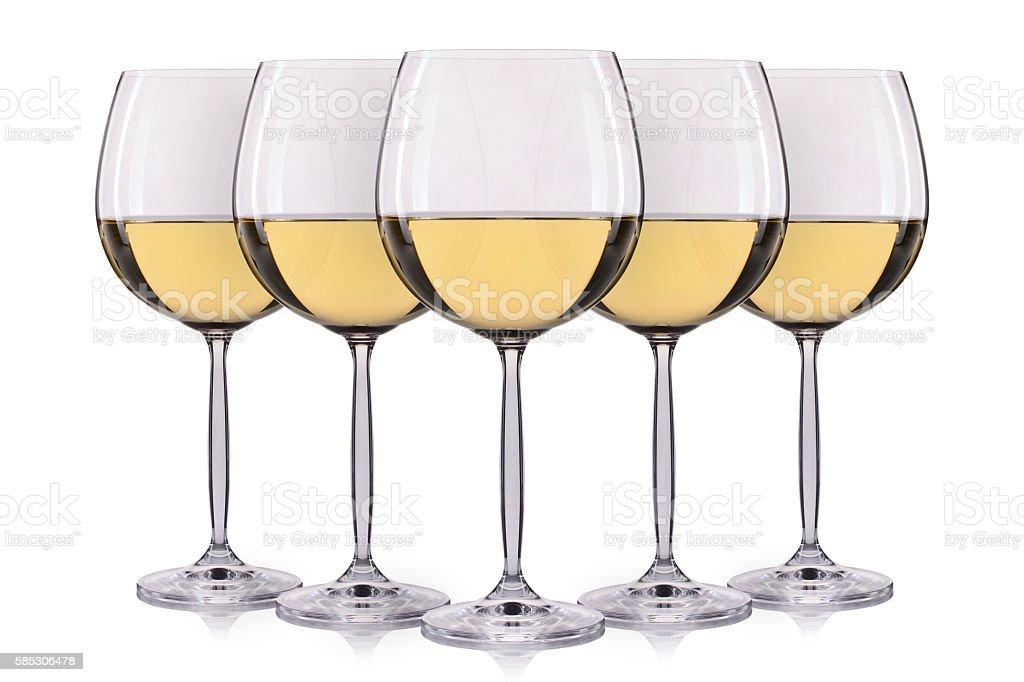 Set of wine glasses isolated on white background stock photo