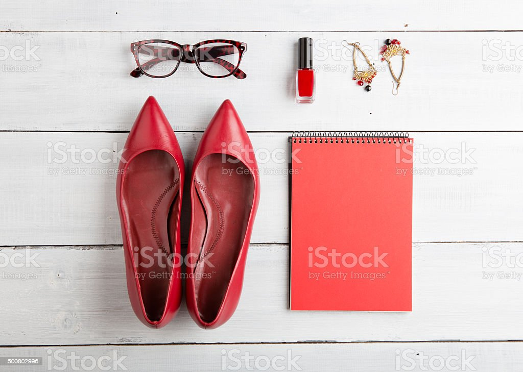 set of woman stuff on wooden background stock photo