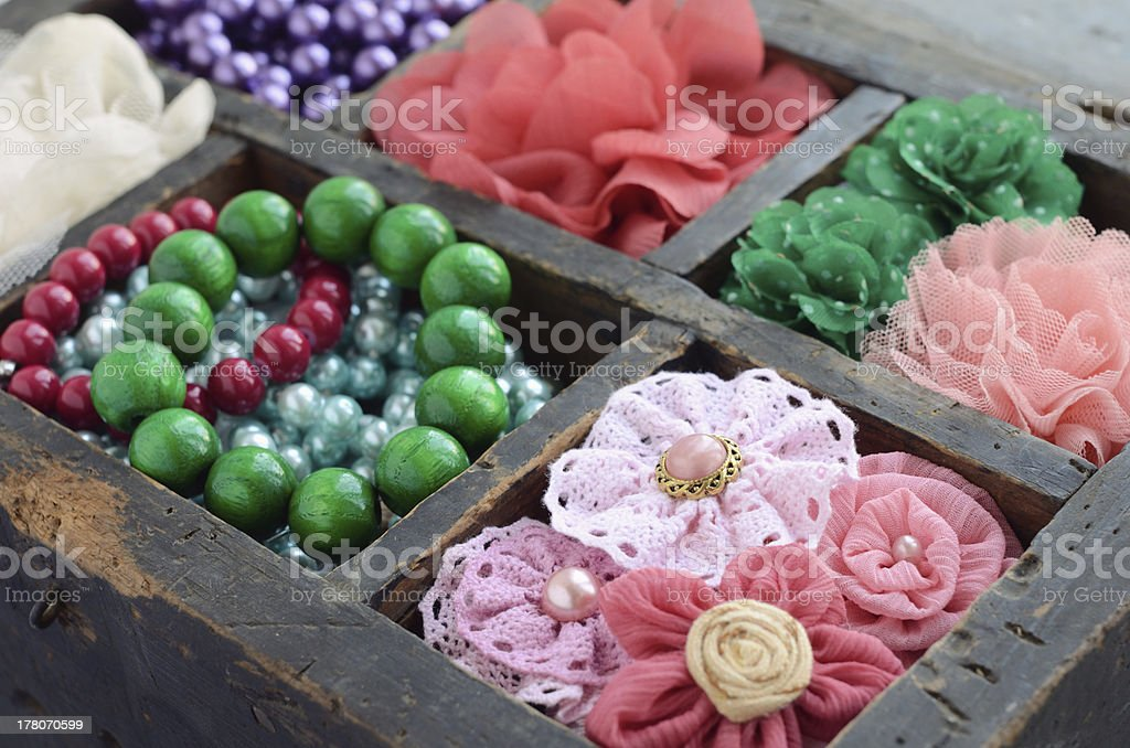 Set of woman's accessories in old wooden box royalty-free stock photo