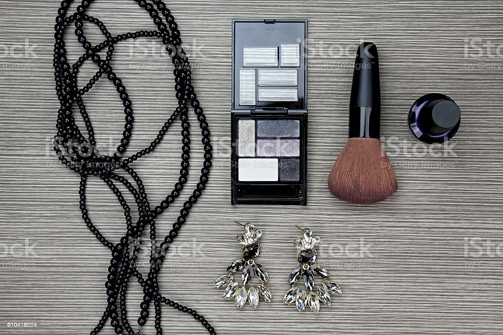 Set of women's fashion accessories and cosmetics, Professional make-up stock photo