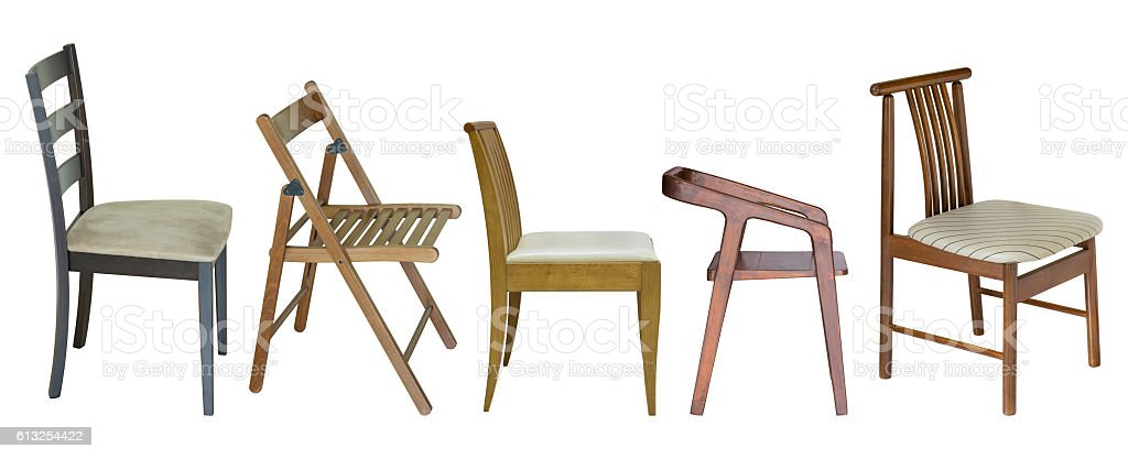set of wooden chair isolated on white stock photo
