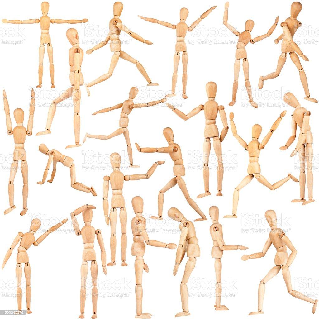 Set of wooden dummies stock photo