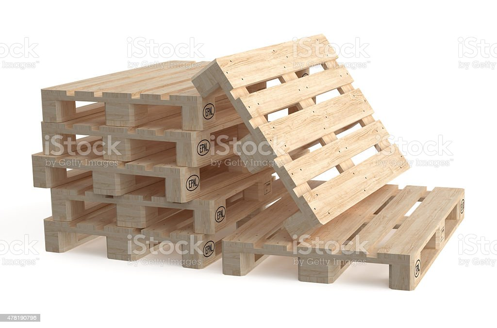 set of wooden euro pallets stock photo