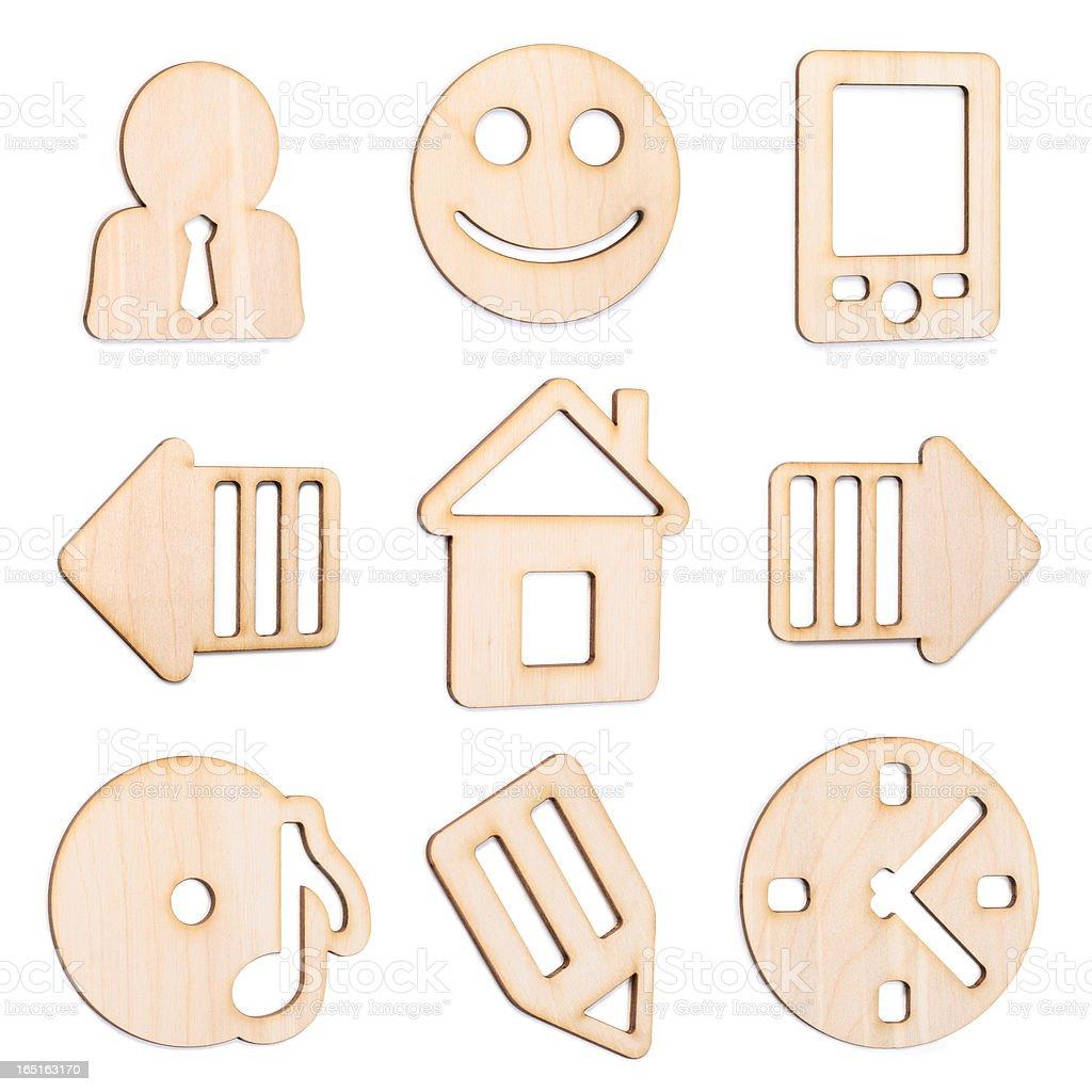 Set of wooden icons. studio shot royalty-free stock photo