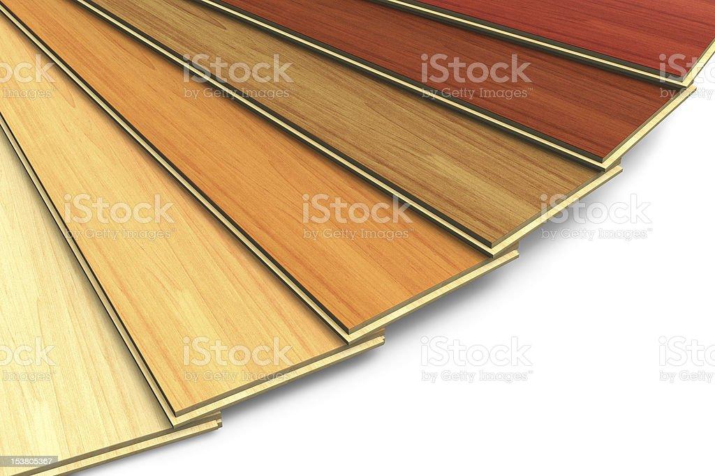 Set of wooden laminated construction planks stock photo