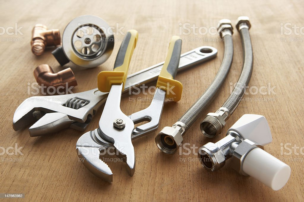 Set of wrenches and pliers for plumbing stock photo
