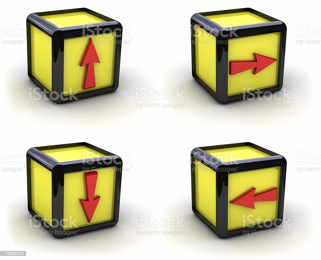 Set of yellow boxes with arrows royalty-free stock photo